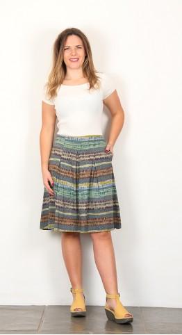 Nomads Stripe Jersey Skirt Verdigris