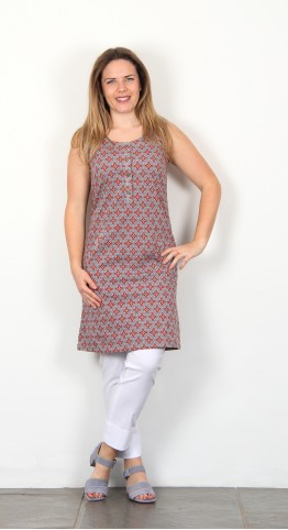 Nomads Button Fronted Tunic Dress Pebble