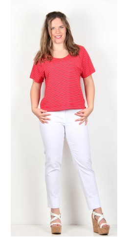 Two Danes Busra Tee Shirt Red Rose Stripe