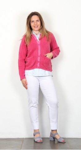 Orininal Blues Cascade Cardigan Fushia Wash