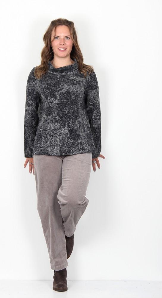 Oska Clothing Levina Pullover 953 Grey Pattern