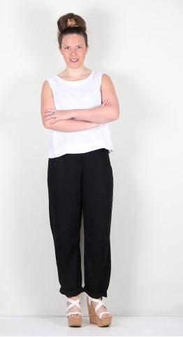 Oska Clothing Trousers Lovys 126 Black / Lyocell-Linen-Blend