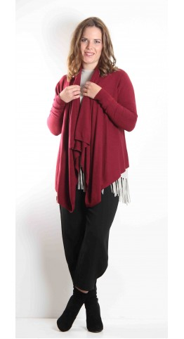 Pink Rooster Waterfall Cardi Burgundy