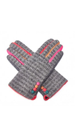 Pink Rooster Herringbone Tweed Gloves Anthracite