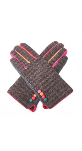 Pink Rooster Herringbone Tweed Gloves Brown