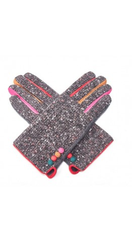 Pink Rooster Donegal Tweed Gloves Pink