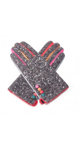 Pink Rooster Donegal Tweed Gloves Anthracite