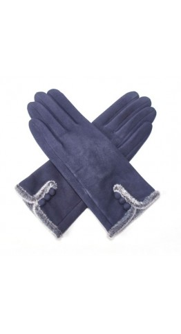 Pink Rooster Fur Trim Button Gloves Navy