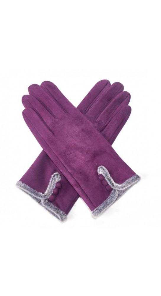 Pink Rooster Fur Trim Button Gloves Purple