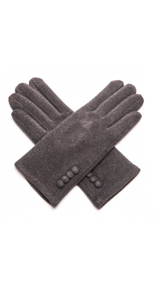 Pink Rooster Button Gloves Anthracite