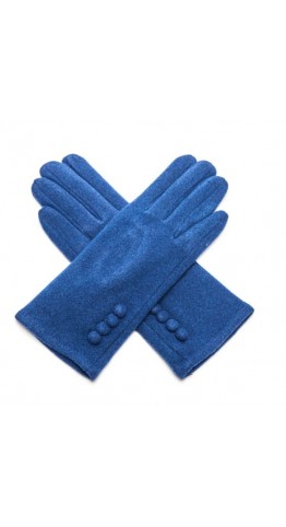 Pink Rooster Button Gloves Mid Blue