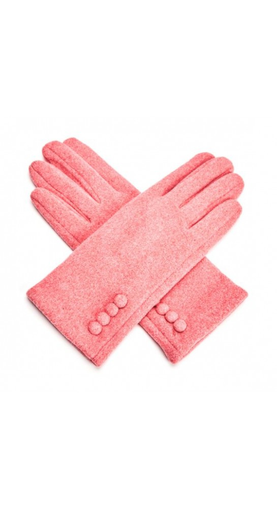 Pink Rooster Button Gloves Pomegranite
