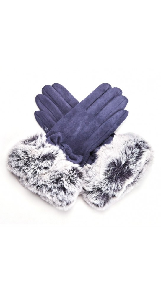 Pink Rooster Faux Fur Cuff Gloves Navy