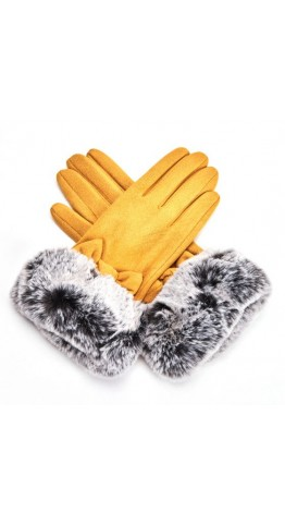 Pink Rooster Faux Fur Cuff Gloves Mustard