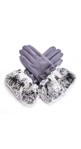 Pink Rooster Faux Fur Cuff Gloves Pewter