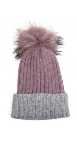 Pink Rooster Fur Pom Ribbed Beanie Mauve