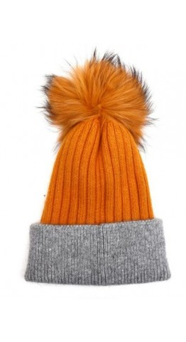 Pink Rooster Fur Pom Ribbed Beanie Mustard
