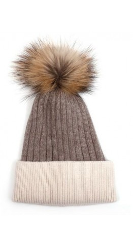 Pink Rooster Fur Pom Ribbed Beanie Latte
