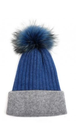 Pink Rooster Fur Pom Ribbed Beanie Mid Blue