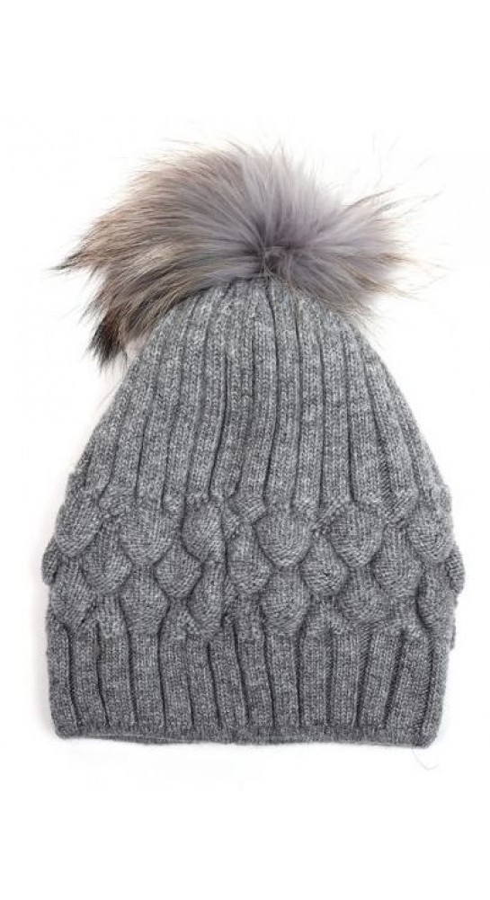 Pink Rooster Fur Pom Bobble Beanie Grey