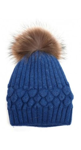 Pink Rooster Fur Pom Bobble Beanie Mid Blue