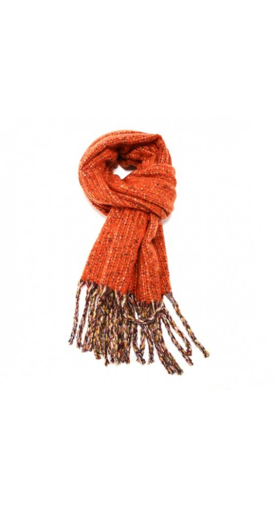 Pink Rooster Tweed Scarf Burnt Orange