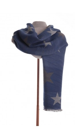 Pink Rooster Pleat Winter Stars Scarf Navy