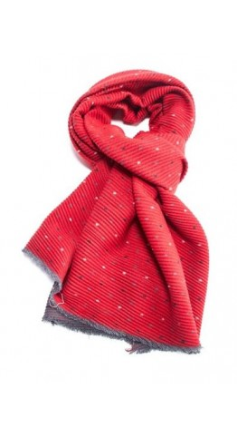 Pink Rooster Pleat Tiny Dots Scarf Red