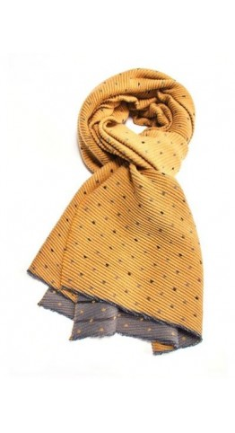 Pink Rooster Pleat Tiny Dots Scarf Mustard