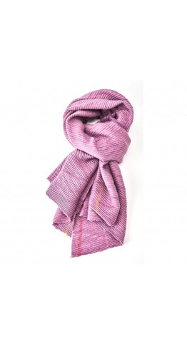 Pink Rooster Pleat With Borders Scarf Heather