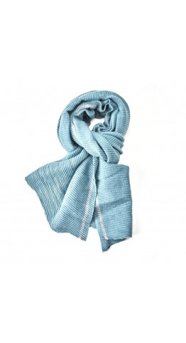 Pink Rooster Pleat With Borders Scarf Petrol