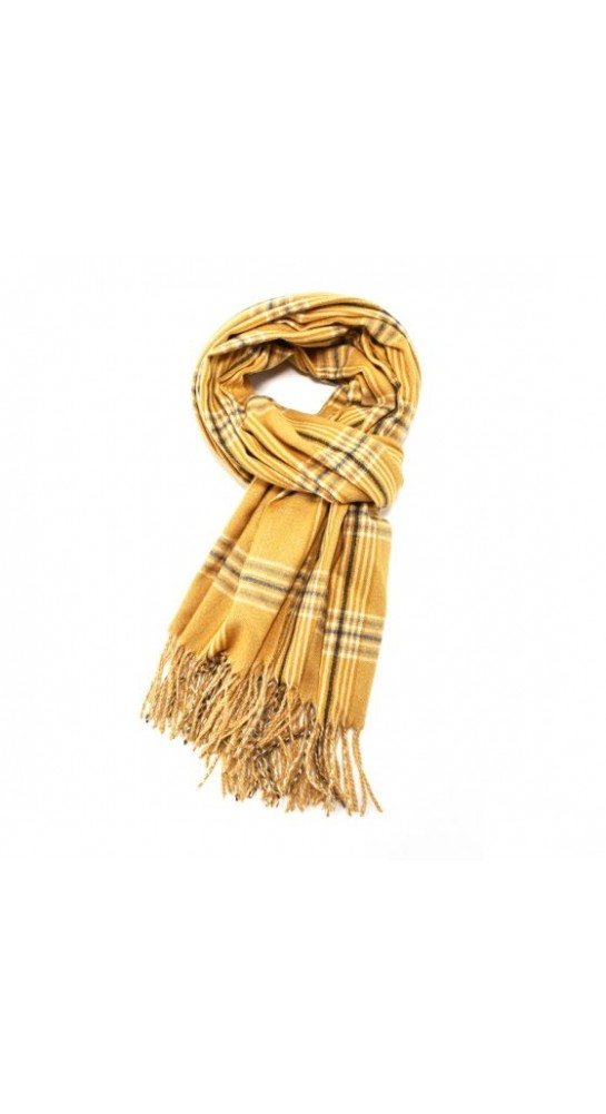 Pink Rooster Tartan Scarf Gold