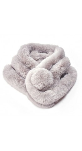 Pink Rooster Faux Fur Pompom Scarf  Silver
