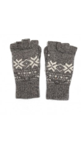 Rooster Trappa Mittens Snow Flake Grey