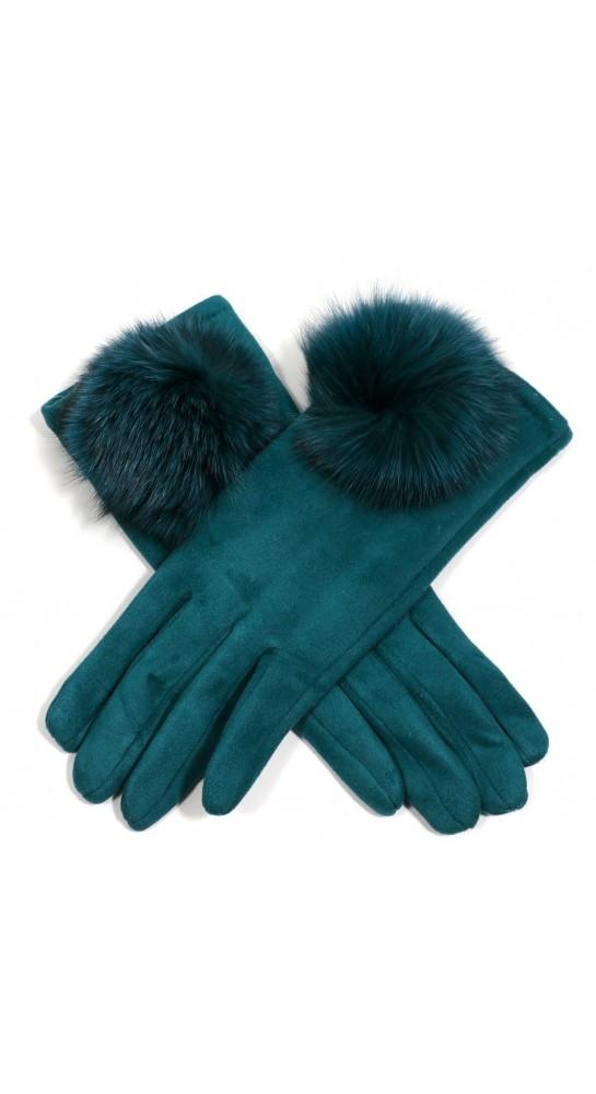 Rooster Fur Large Pom Gloves Teal