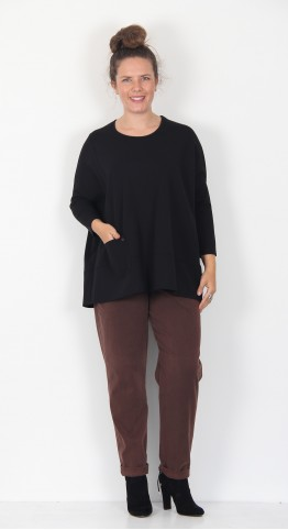 Q-Neel Relaxed Jersey Top Black