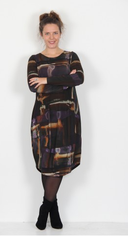 Q-Neel Round Neck Jersey Bubble Dress Amethyst