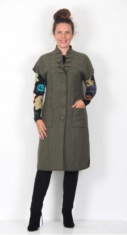 -Neel Boiled Wool Waistcoat Lichen