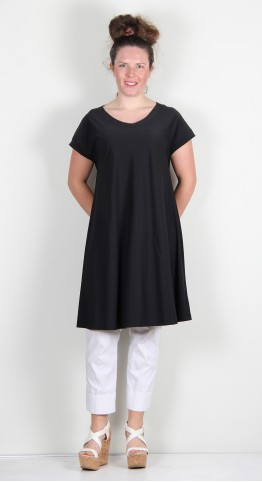 Q-Neel Techno Fabric Tunic Dress Black
