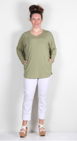 Q-Neel Notched Neck Bamboo Jersey Top Sage