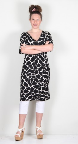 Q-Neel Jersey Faux Wrap Dress Animal