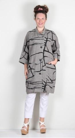 Q-Neel Abstract Print Linen Jacket Grey