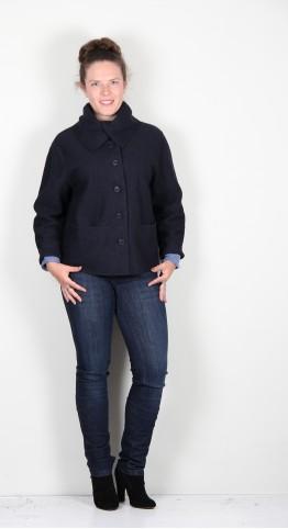 Q-Neel Boiled Wool Jacket Navy