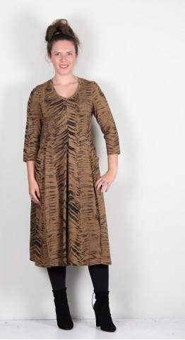 Q-Neel V-Neck Jersey Bubble Dress Coffee Tiger Print