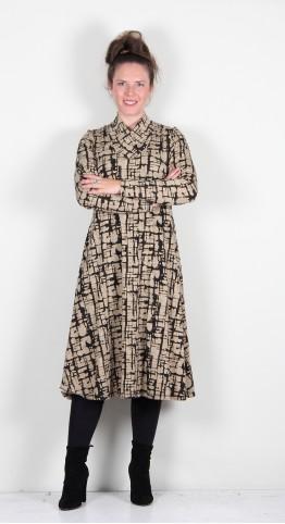 Q-Neel Cross-Neck Jersey Flare Dress Taupe Animal Print