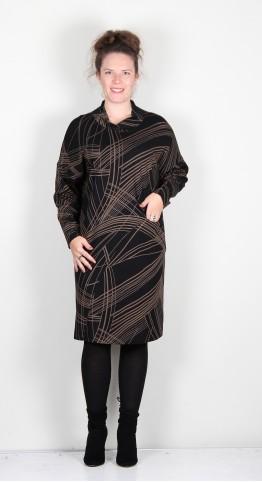 Q-Neel Chimney Collar Jersey Dress Black