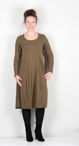 Q-Neel Curved Seam Bubble Dress Moss