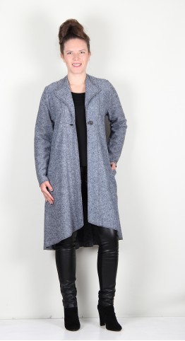 Q-Neel Boiled Wool Fit And Flare Coat Charcoal