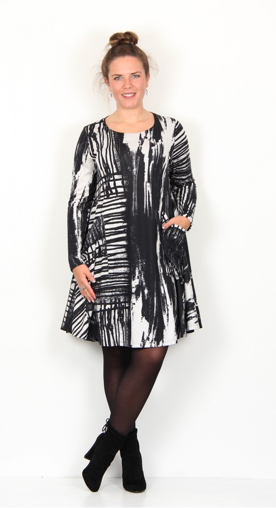 Ralston Stara Paint Tunic/Dress Black Ecru