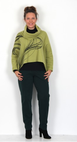 Ralston Mizo Wool Swirl Cowl Neck Top Lime